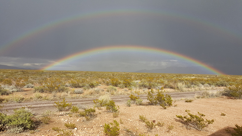 Horizon-to-horizon double rainbow, outside of Truth or Consequences, NM