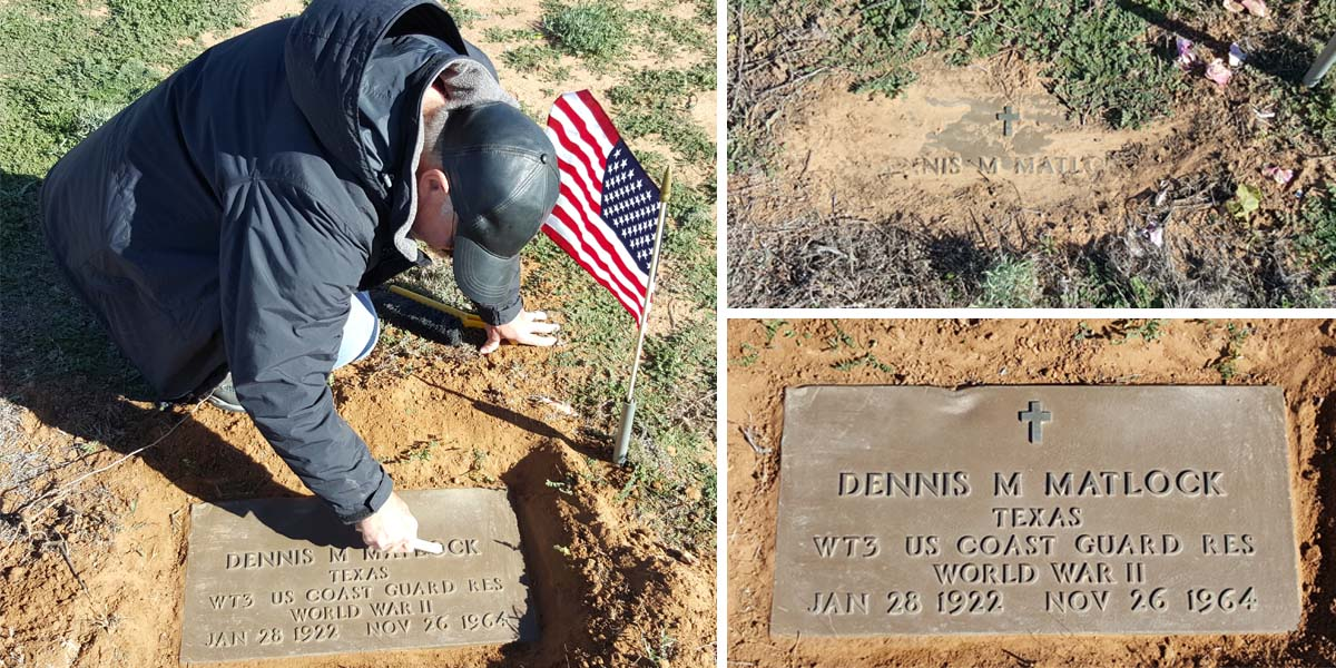 Cleaning off the gravestone for Dennis M. Matlock, Wolfforth Cemetery, Lubbock, TX.