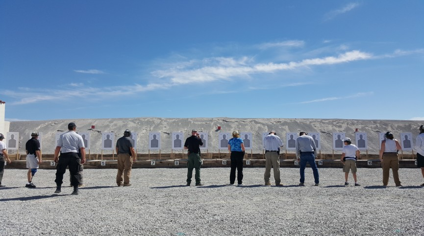 Handgun training course, Frontsight Firearms Training Institute, Pahrump< Nevada. Marie center, in the blue shirt.